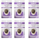 Conair Brown Ultra Fine Mesh Hair Nets - 12pc - #55577 One Size Invisible Edge