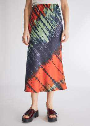 Which We Want Women's Marina Slip Skirt in Red Tie Dye, Size Small
