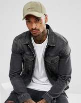 Asos Baseball Cap In Khaki Velour With Low Key Embroidery