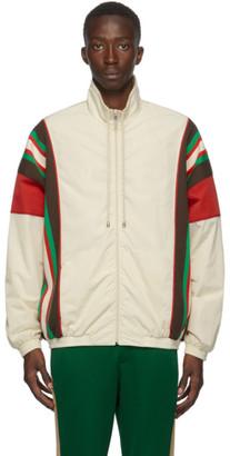 Gucci Off-White Crinkle Web Track Jacket
