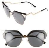 Fendi Women's 54Mm Metal Tipped Cat Eye Sunglasses - Black/ Dark Ruthenium