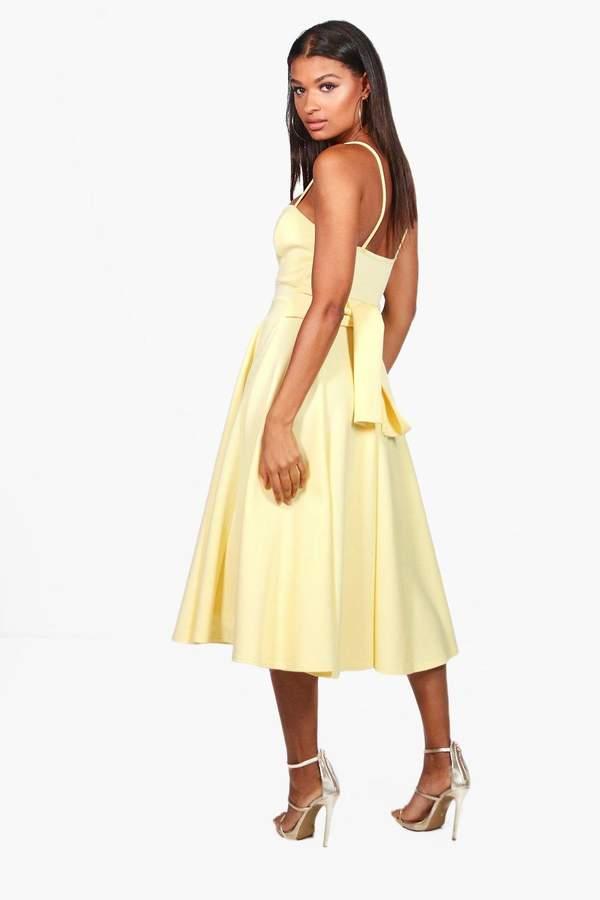 boohoo Michelle Scuba Tie Waist Midi Skater Dress