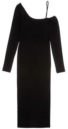 Helmut Lang One-Shoulder Knit Midi Dress