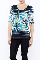 Tribal Aqua Print Top