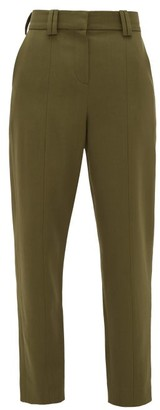 Balmain Carrot-leg Grain De Poudre Trousers - Khaki