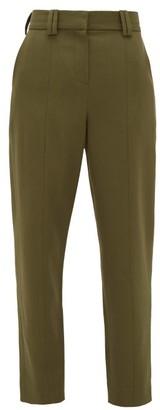 Balmain Carrot-leg Grain De Poudre Trousers - Womens - Khaki