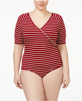 American Rag Trendy Plus Size Surplice Bodysuit, Only at Macy's