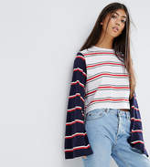 Asos Top With Oversized Sleeve In Cutabout Stripe