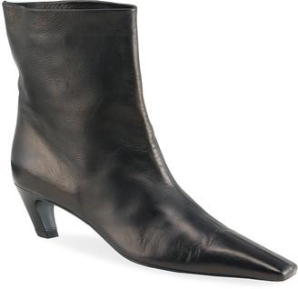 KHAITE Arizona Leather Ankle Booties