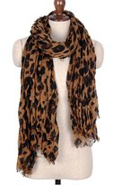 SilverHooks Designer Inspired Leopard Animal Print Scarf - BROWN