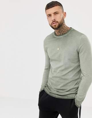 Asos Design DESIGN longline long sleeve t-shirt in pigment wash in khaki-Green