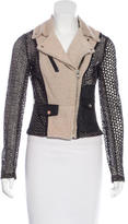 Yigal Azrouel Leather & Shearling-Trimmed Eyelet Jacket