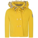 MonnaLisa MonnalisaYellow Neoprene Coat With Ruffle Hood