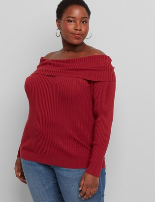Lane Bryant Off-The-Shoulder Pullover Sweater