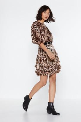 Womens Copy Cat Ruffle Tiger Dress - brown - 6