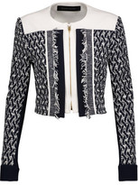 Roland Mouret Letton Cropped Crepe And Tweed Jacket