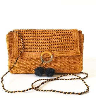 Maraina London Charlotte Small Raffia Cross-Body Clutch Bag In Saffran