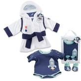 Baby Aspen Infant Boy's Cosmo Tot Astronaut Hooded Robe, Bodysuit & Booties Set