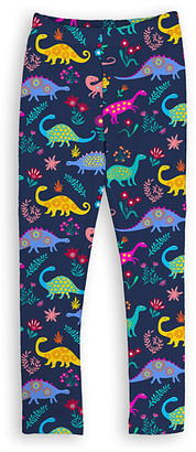 Urban Smalls Girls' Leggings Multi - Navy Floral Dino Toastie Leggings - Toddler & Girls