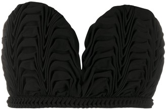 Marco De Vincenzo Strapless Ruffled Cropped Top