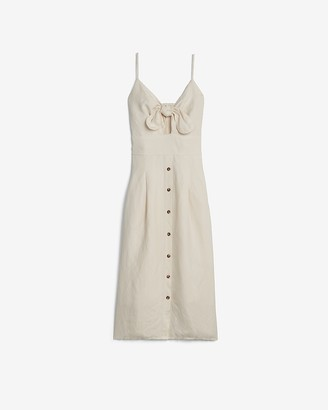 Express Linen-Blend Button Front Tie Midi Dress