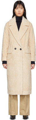 The Loom Off-White Wool Faux-Fur Double Coat