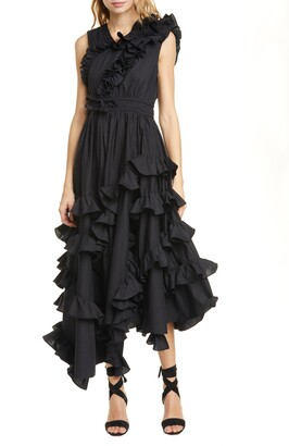 Ulla Johnson Imogen Ruffle Asymmetrical Cotton Wrap Dress