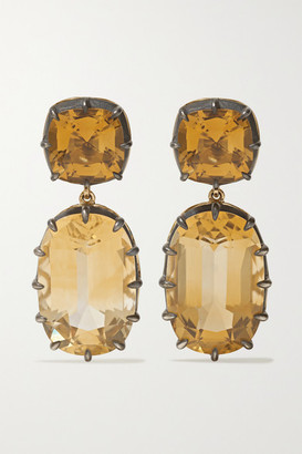 Fred Leighton Collection Sterling Silver-topped 18-karat Gold Citrine Earrings - one size