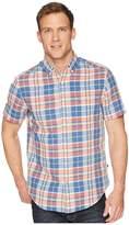 Nautica Short Sleeve Linen Plaid Shirt Men's T Shirt
