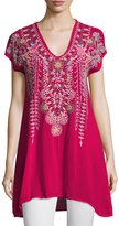 Johnny Was Karineh V-Neck Embroidered Tunic