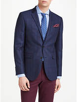 John Lewis Wool Check Tailored Blazer, Navy