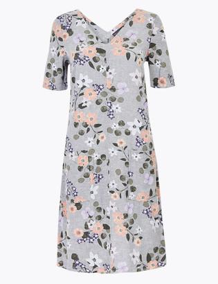 Marks and Spencer Linen Blend Floral Shift Dress