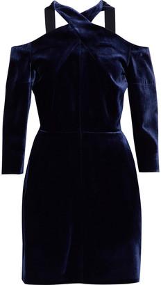 Roland Mouret Harlington Cold-shoulder Velvet Mini Dress