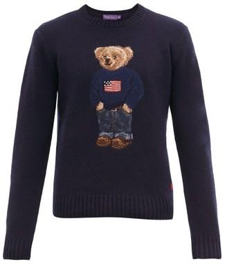 Ralph Lauren Purple Label Polo Bear-intarsia Cashmere Sweater - Mens - Navy