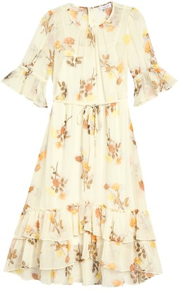 Calvin Klein Floral 3/4 Sleeve Ruffled Chiffon Dress