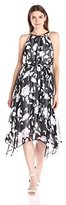Sangria Women's Sleeveless Floral Printed Belted Dress