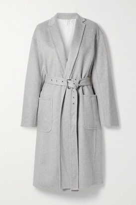 Helmut Lang Belted Wool And Cashmere-blend Coat - Light gray