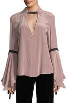 Nanette Lepore Marie Flounce-Sleeve Silk Blouse