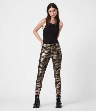 AllSaints Miller Mid-Rise Camouflage Superstretch Skinny Jeans, Gold