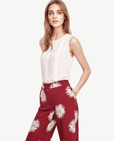 Ann Taylor Petite Pleated Cutout Shell