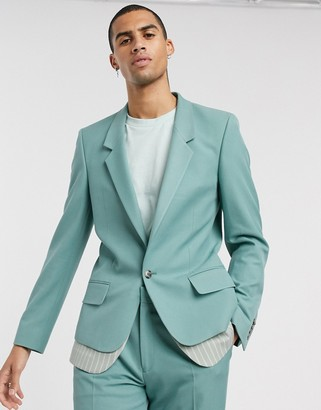 ASOS DESIGN slim suit jacket with double layer in green stripe