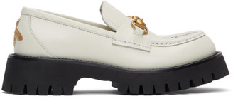 Gucci White Lug Sole Horsebit Loafers