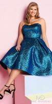 Mac Duggal Strapless Sweetheart Metallic Plus Size Homecoming Dress