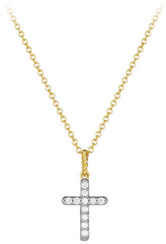 David Yurman Cable Collectibles Cross Necklace with Diamonds in Gold on Chain