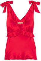 Maggie Marilyn - Diana Ruffled Silk-satin Camisole - Red