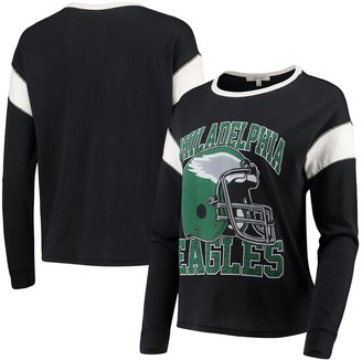 Women's Junk Food Black Philadelphia Eagles Big Logo Long Sleeve T-Shirt
