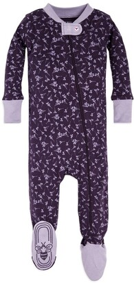 Burt's Bees Dusty Dandelion Organic Baby Zip Front Snug Fit Footed Pajamas