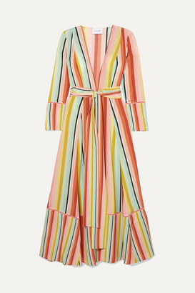 we are LEONE - Striped Silk Crepe De Chine Robe - Orange