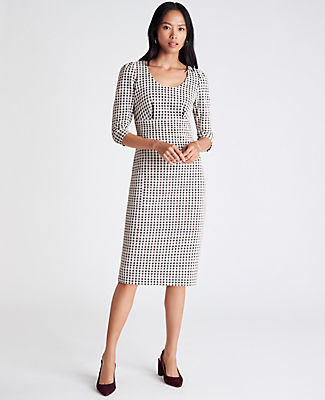Ann Taylor Checked Puff Sleeve Sheath Dress