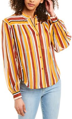 Frame Voluminous Stripe Silk Top